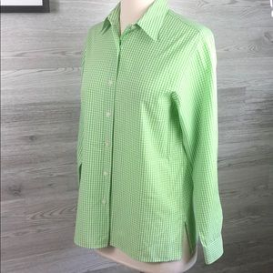 Gingham Checked Green Wrinkle Free  Button Down